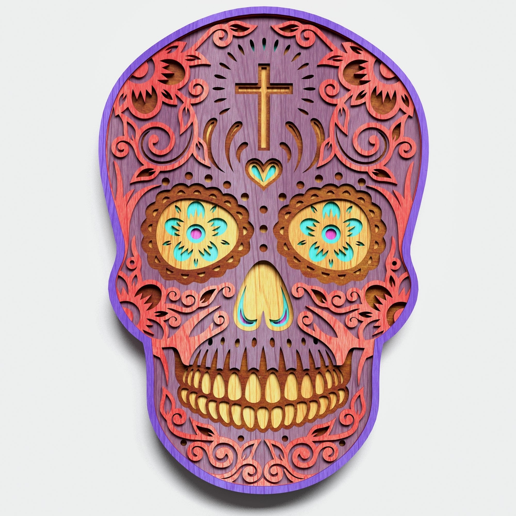 Multilayer Sugar Skull Mandala - S1, for cutting machines example image 6