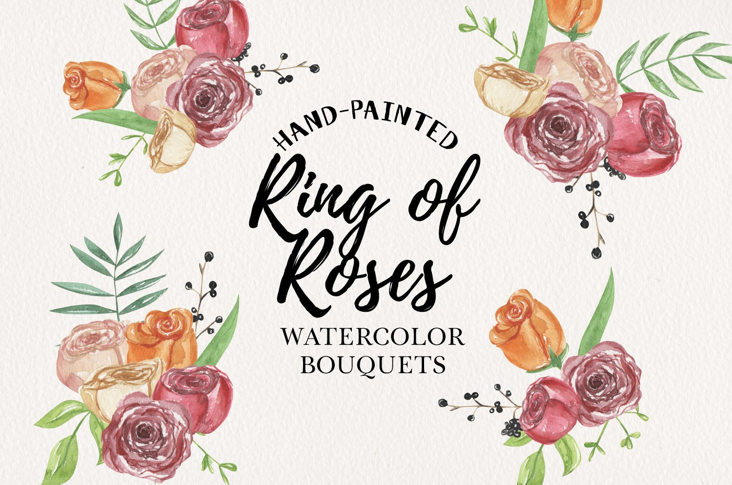 Ring Of Roses Florals 7 Watercolors Flowers Petals Bouquets example image 1