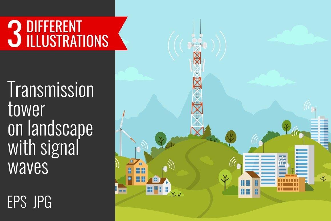Transmission tower on landscape example image 1