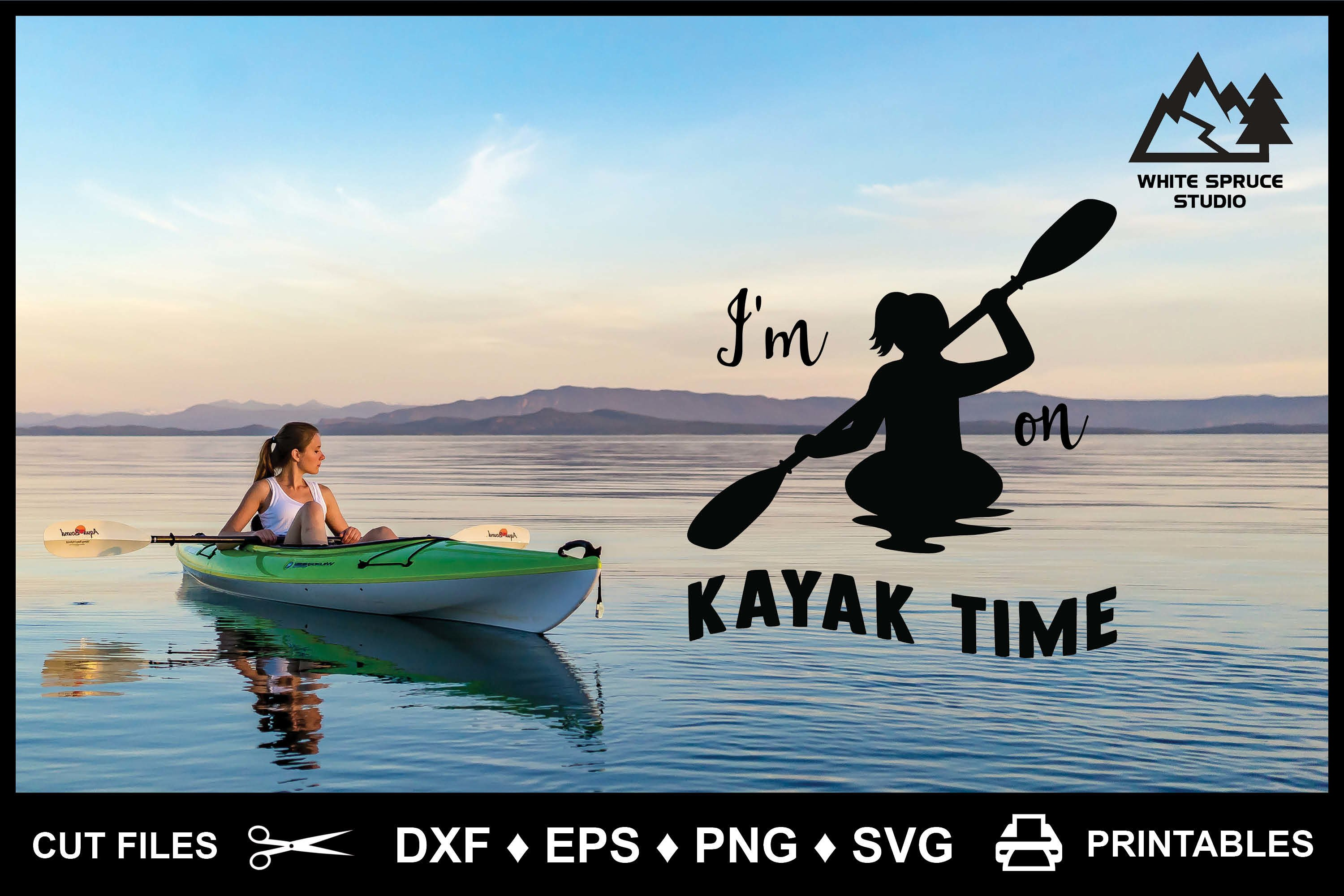 Kayaking SVG I'm On Kayak Time DXF EPS PNG Cricut Silhouette example image 2