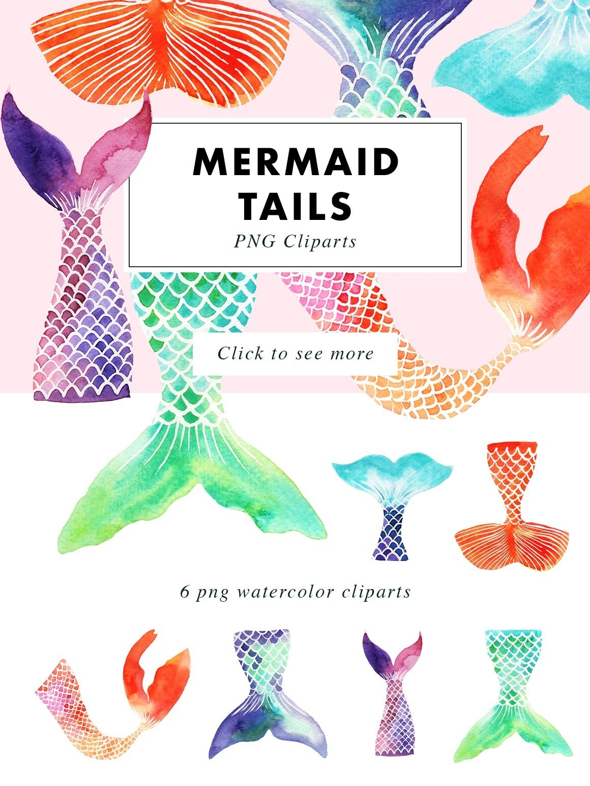Mermaid Tails | Watercolor Illustrations Clipart example image 3