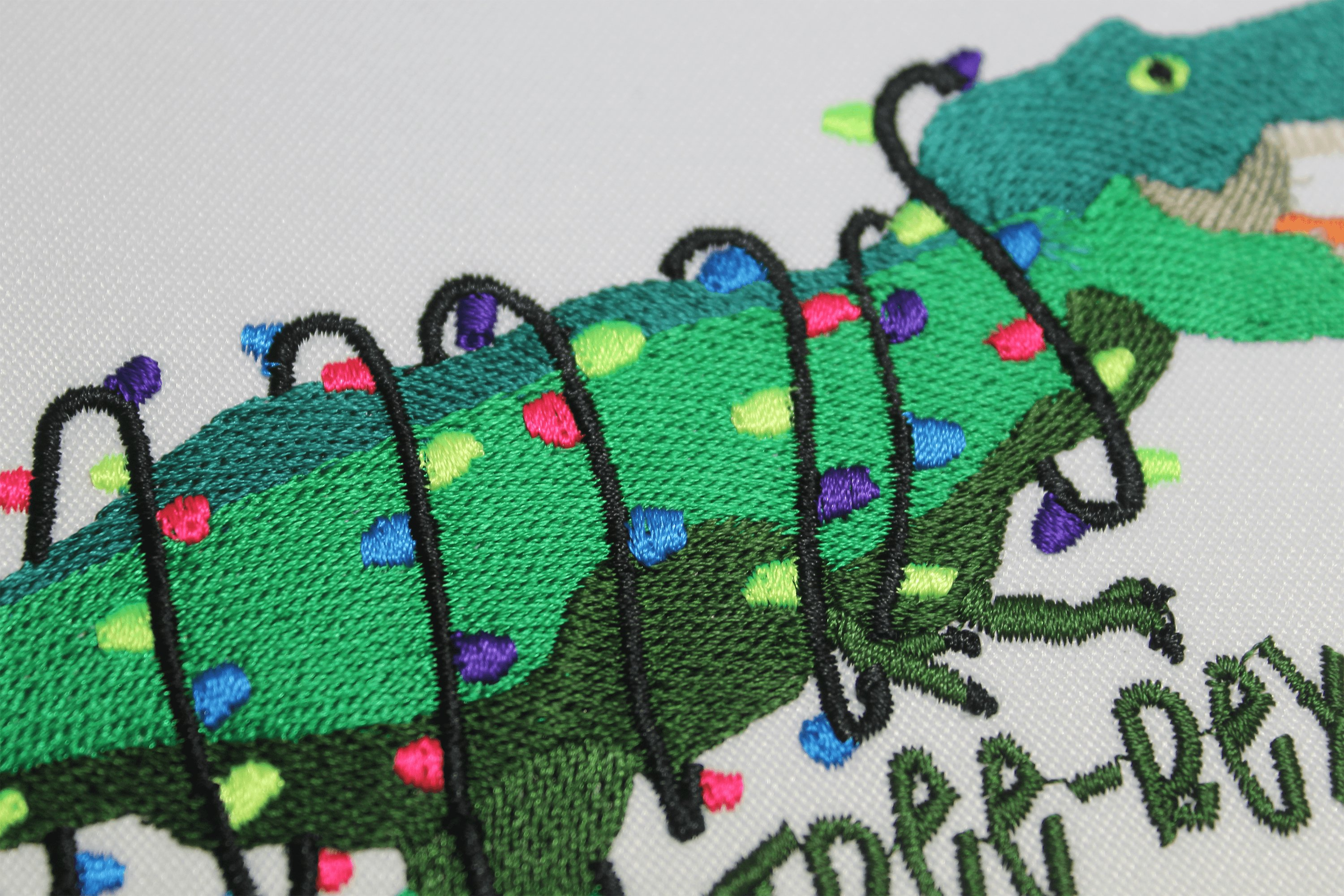 Christmas T-rex Embroidery 5 sizes, Tree-Rex with Lights example image 3
