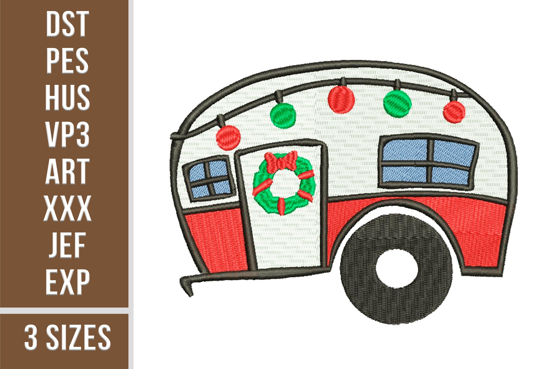 Christmas Trailer Emroidery 3 sizes example image 1