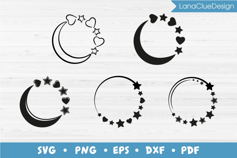 5 Star Circle Frames SVG Bundle, Half Moon with Hearts example image 1