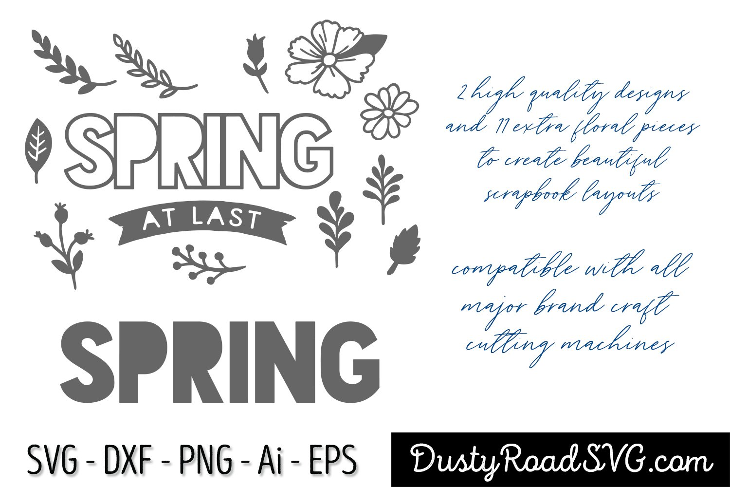 SPRING AT LAST - Scrapbook - cut file - svg png eps dxf example image 2