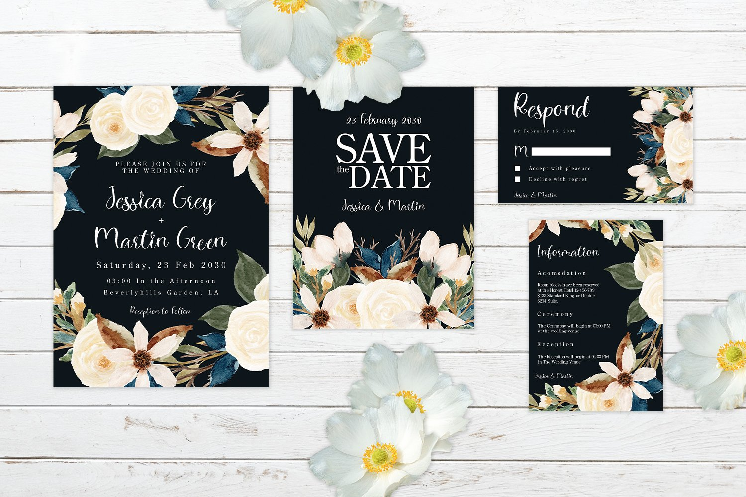 Romantic Navy And White Floral Wedding Invitation Set example image 2
