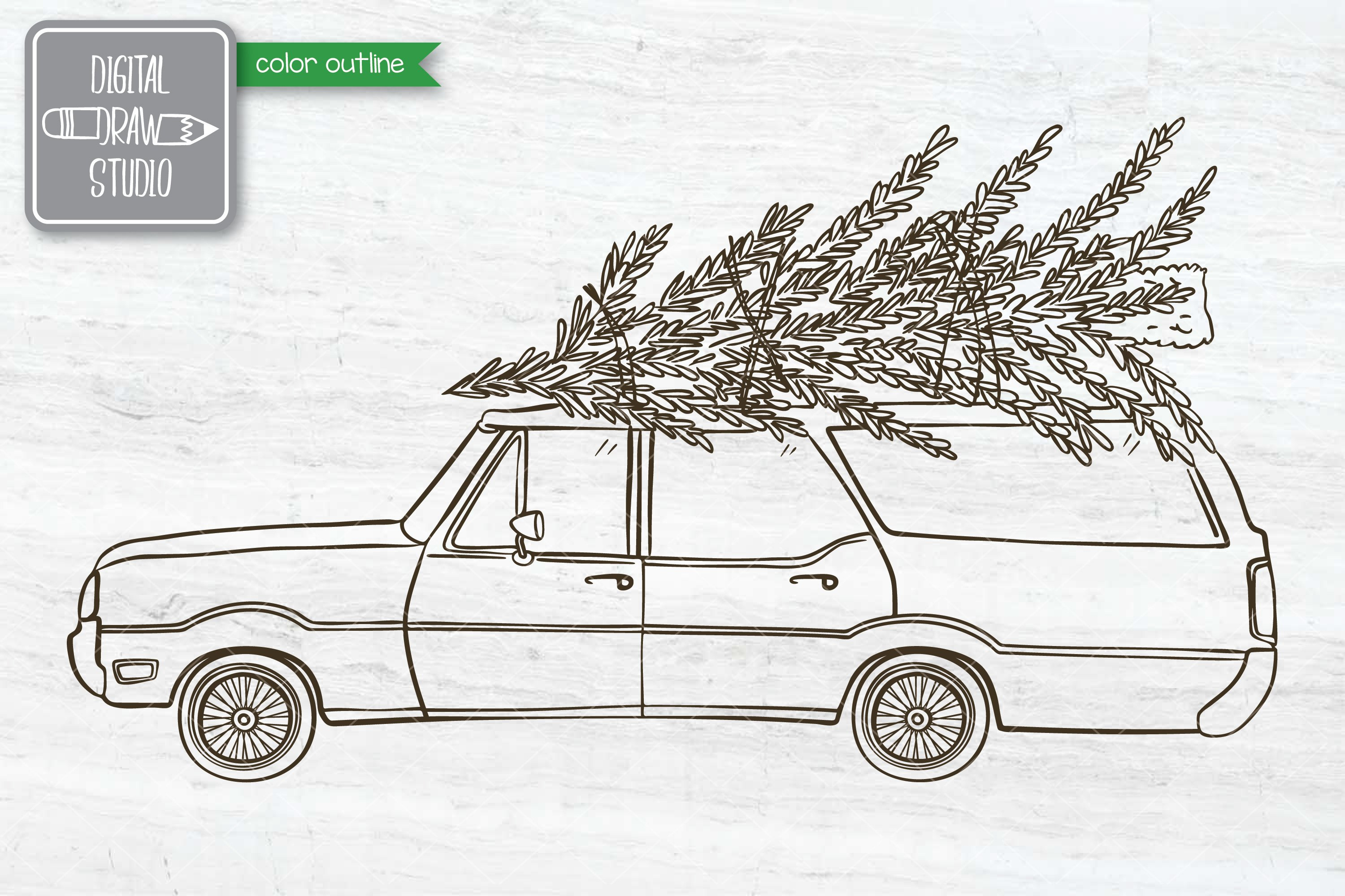 Color Station Wagon Car Christmas | Tree on Roof Top Holiday example image 9