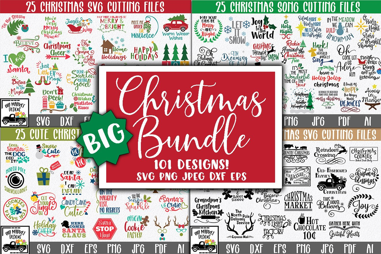 BIG Christmas SVG Bundle with 101 SVG Cut Files