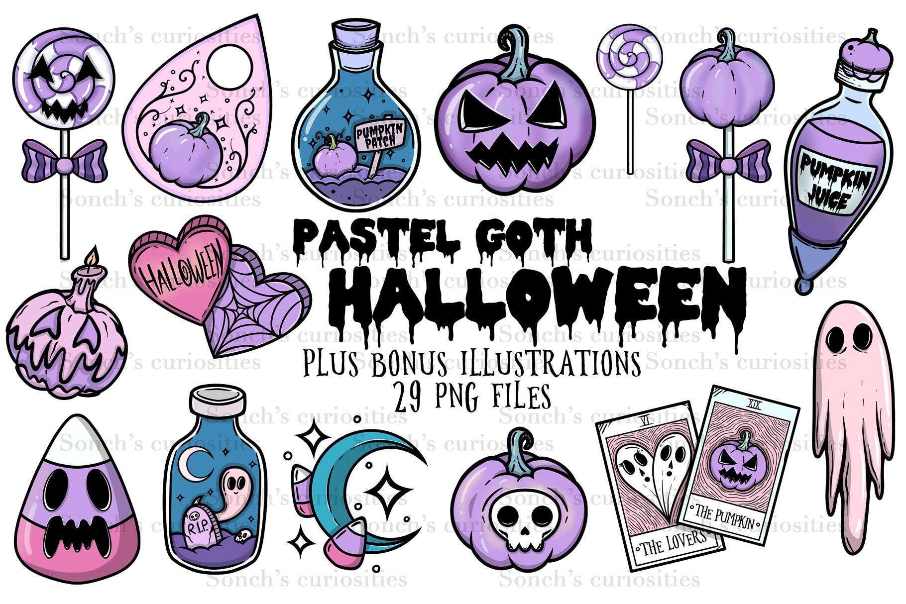 Pastel Goth Halloween - spooky clipart, large PNG files