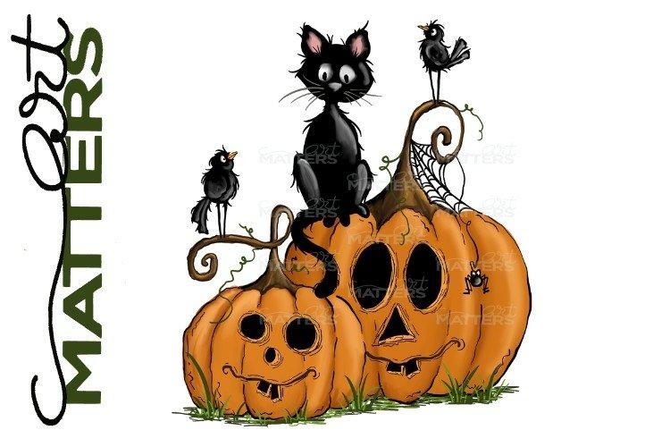 Pumpkin Two Black Cat Halloween - Hand painted - 300 DPI