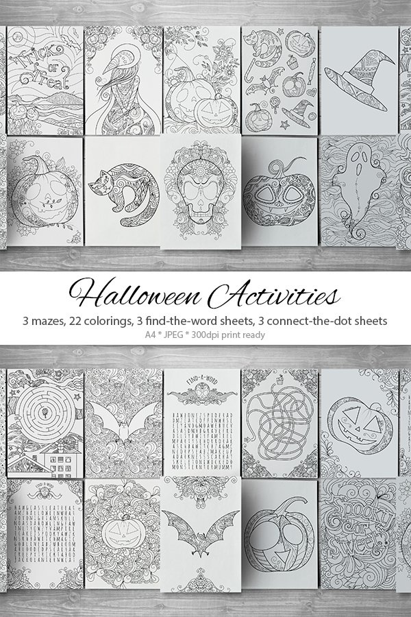 Download 31 Zentangle Halloween Activity Pages Mazes And Colorings 956272 Illustrations Design Bundles