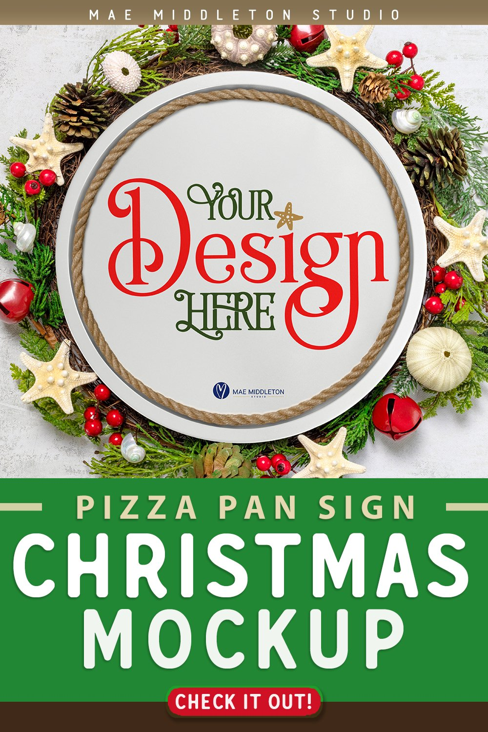 Pizza Pan Sign Mockup Coastal Christmas Styled Photos 1059068 Occasions Design Bundles