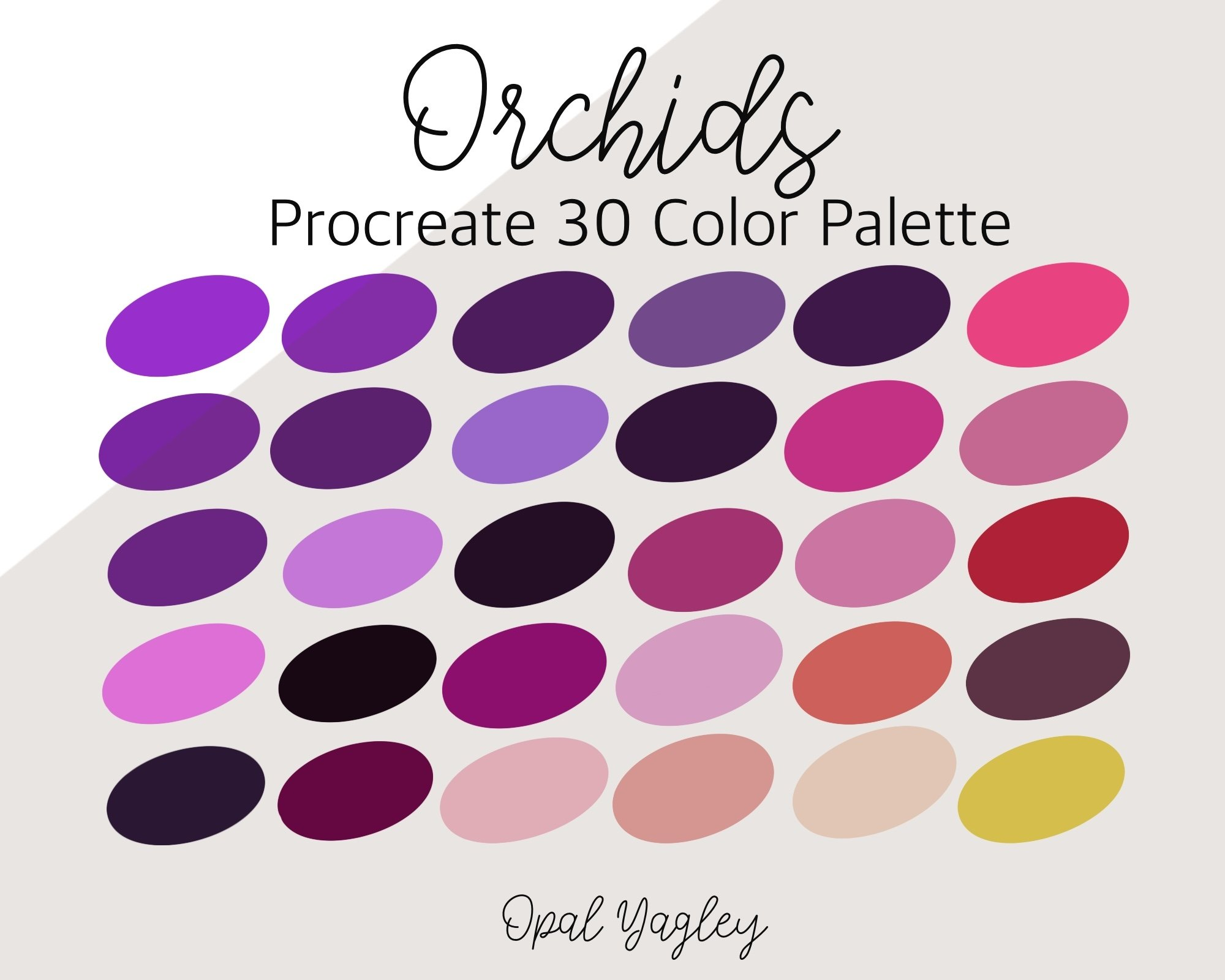Orchids Procreate Color Palette  Spring Flower Colors   Procreate  Floral Palette  Watercolor Flowers  iPad Art  Digital Swatches
