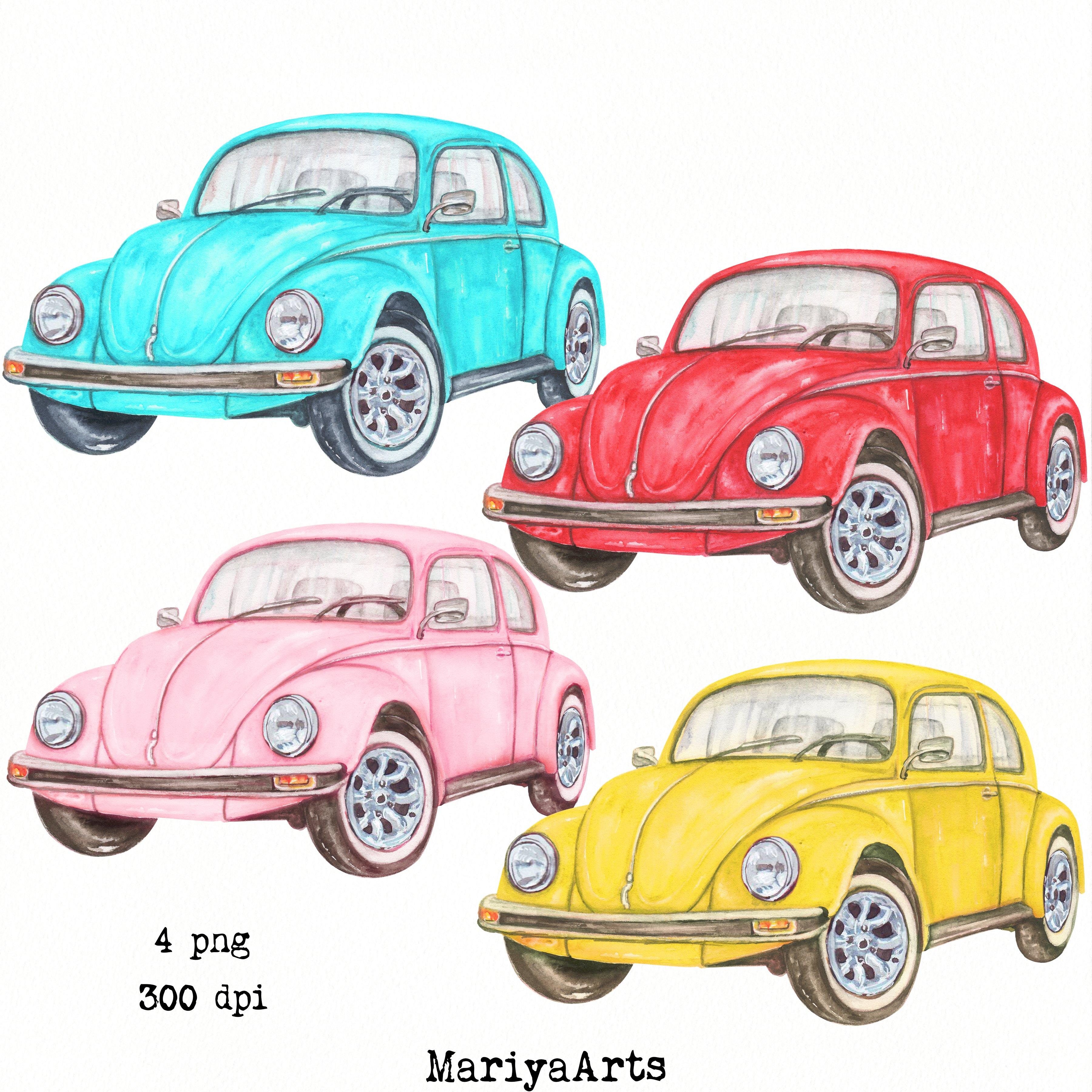Download Red Yellow Pink Blue Car Vintage Vw Beetle Watercolor 751120 Illustrations Design Bundles
