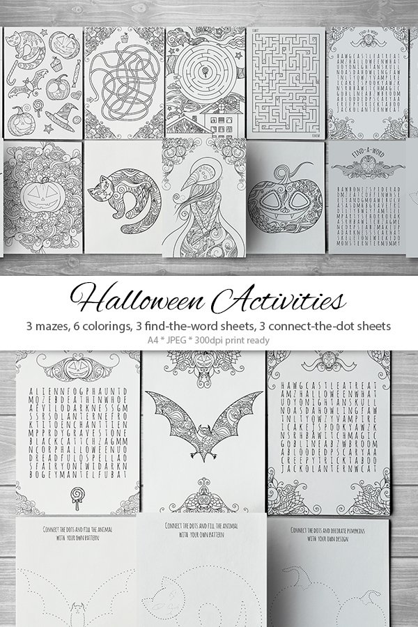Download 15 Zentangle Halloween Activity Pages Mazes And Colorings 929502 Illustrations Design Bundles
