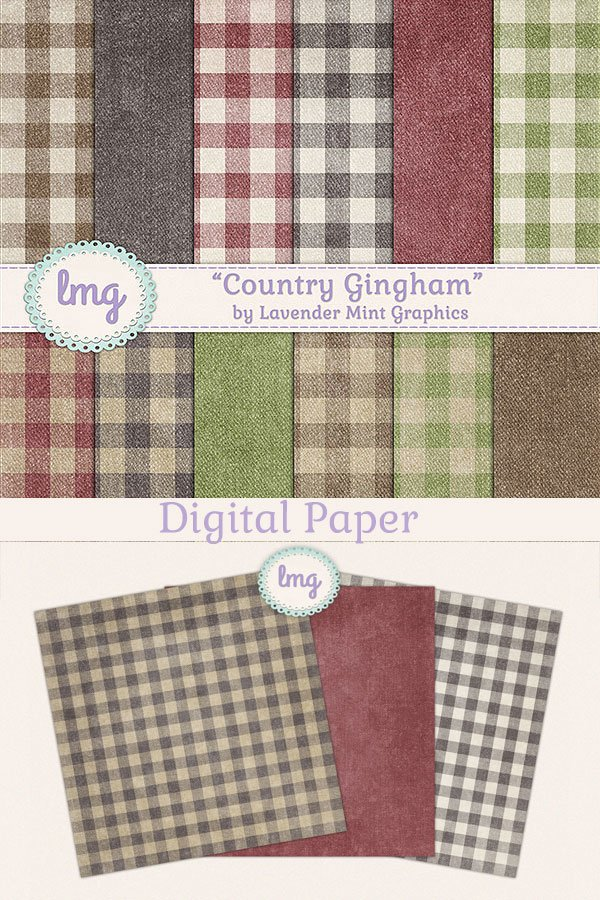 Country Gingham Background Papers In Brown Green And Red 402827 Papers Design Bundles