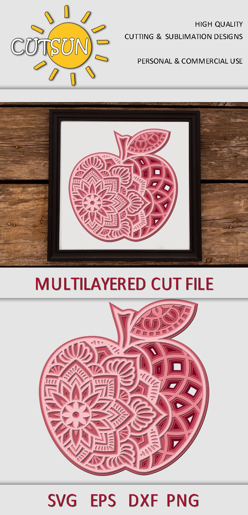 Download 3D Layered Mandala Apple SVG cut files for crafters 5 ...