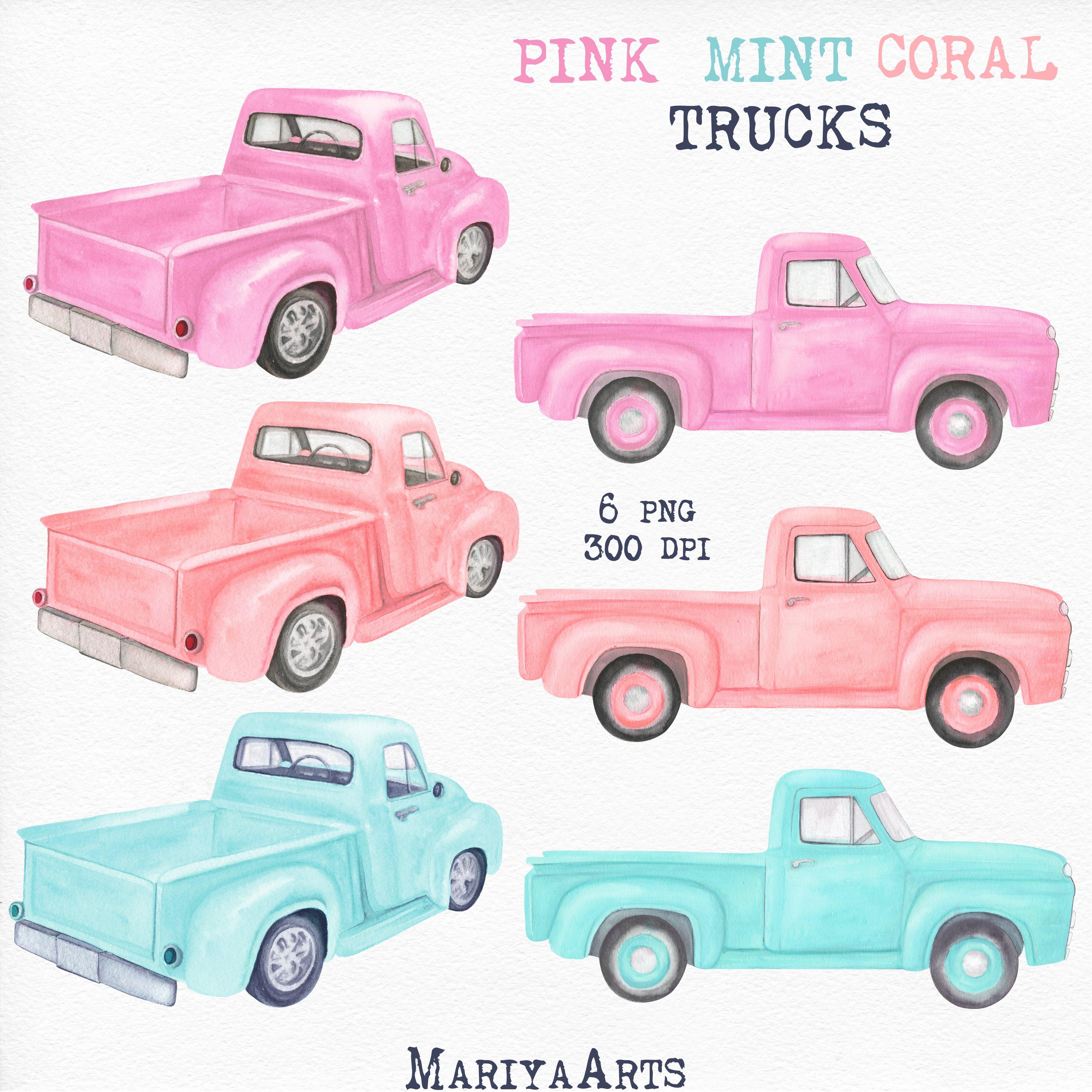 Pink Mint Coral Watercolor Truck Clipart Vintage Pick Up 868451 Illustrations Design Bundles
