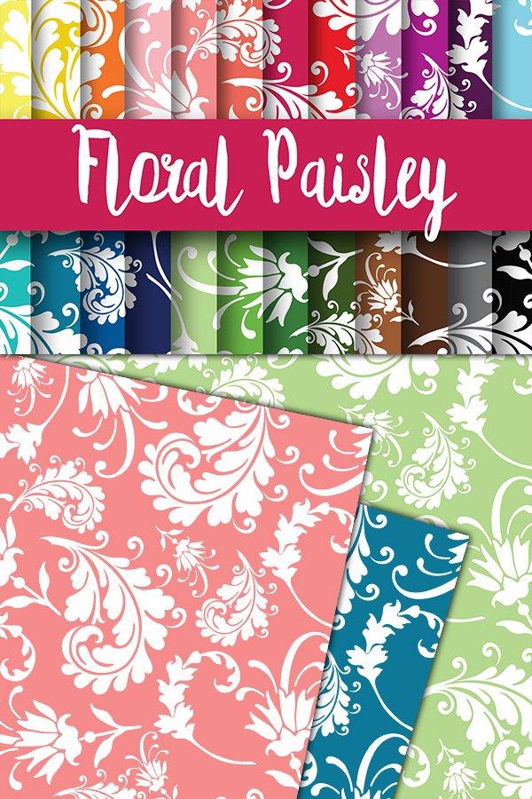 Floral Paisley Digital Papers 37295 Backgrounds Design Bundles