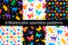Colorful watercolor seamless patterns set example image 1