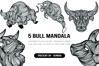 5 Bull Bundle Mandala | SVG example image 1