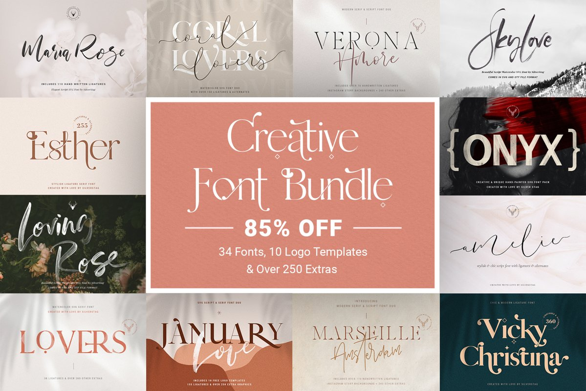 Font Bundle - Limited Time Edition With 80 Percent OFF example image 1