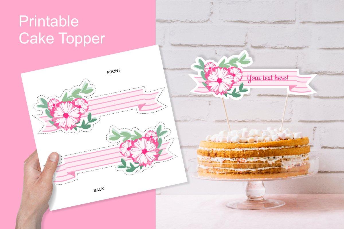Printable Pink Baby Shower Flower Ribbon Banner Cake Topper example image 1