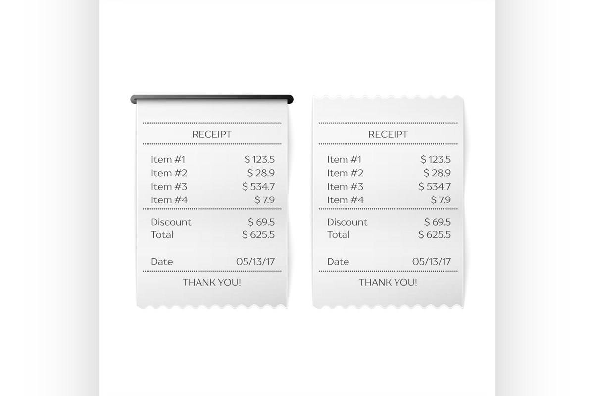 Printed receipt vector example image 1