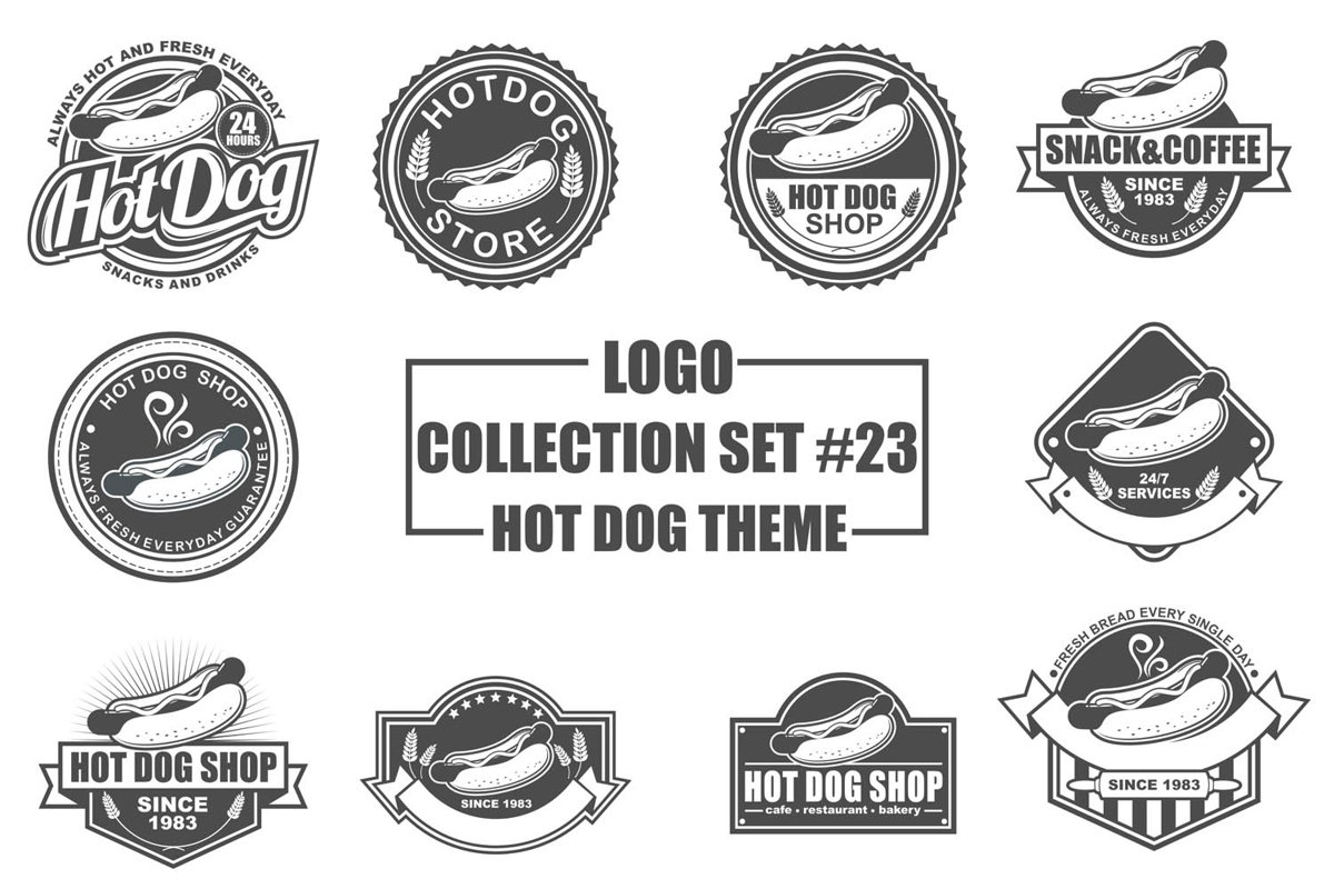 Logo Collection Set with Hot Dog Theme example image 1