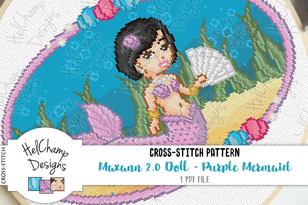 Cross-stitch pattern - Purple Mermaid Maxann 2.0 - CS001 example image 1