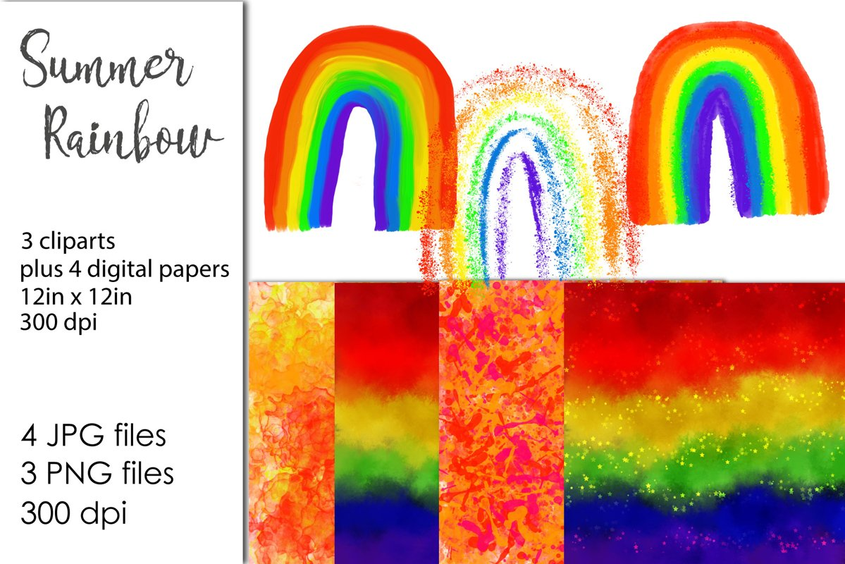 Watercolor Rainbow Clipart example image 1
