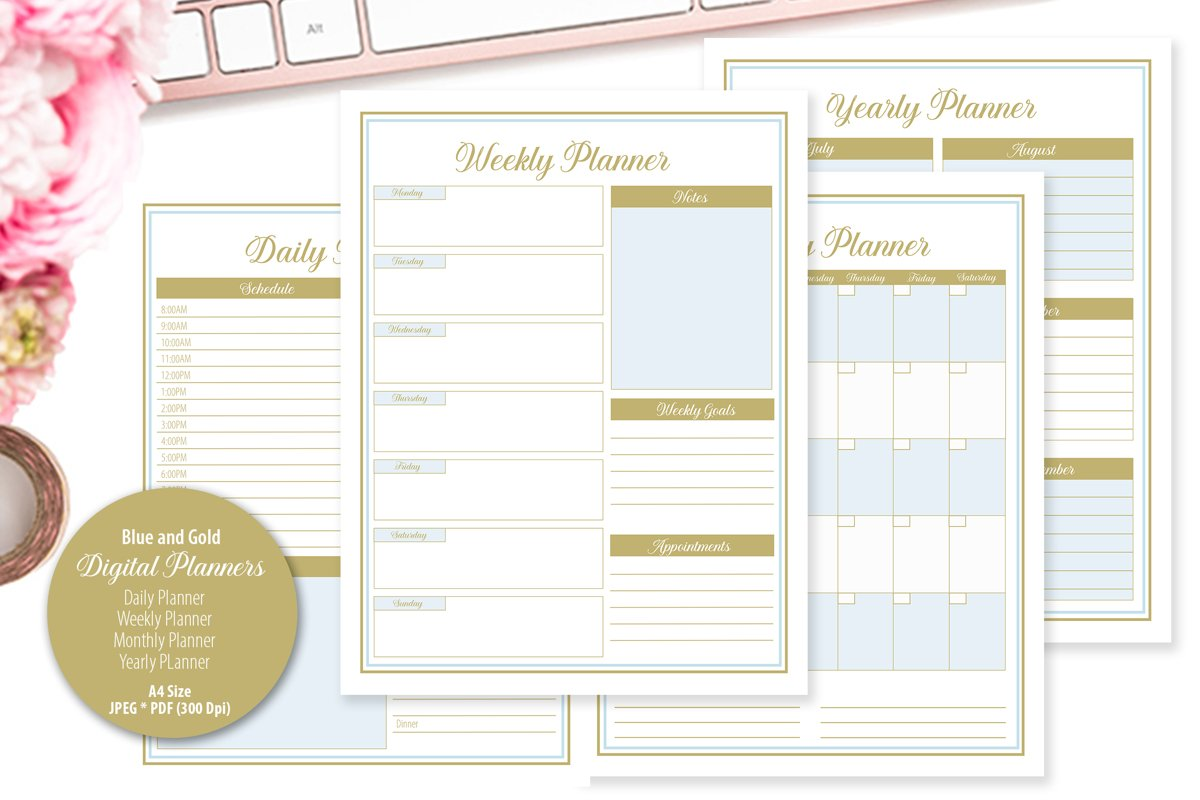Blue and Gold Digital Planner example image 1