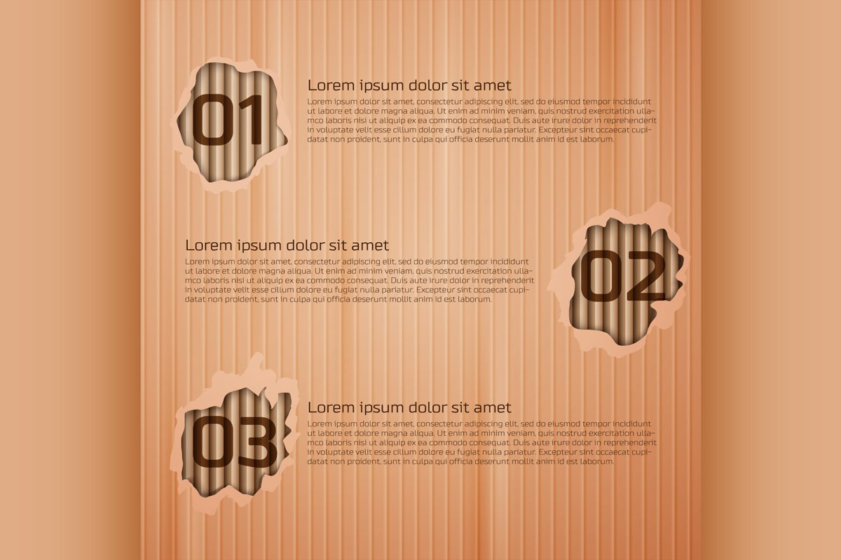 Infographics on cardboard texture background example image 1