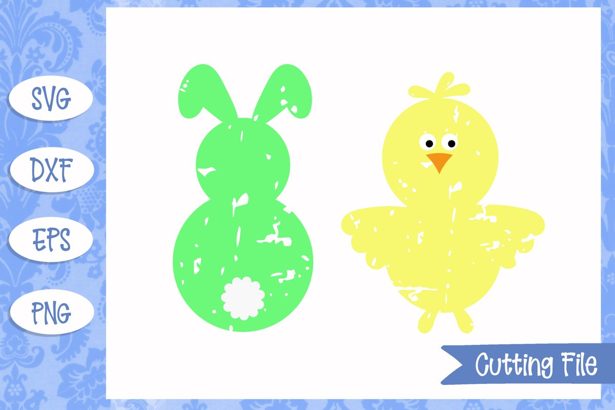 Bunny & Chick Grunge Effect SVG Files example image 1