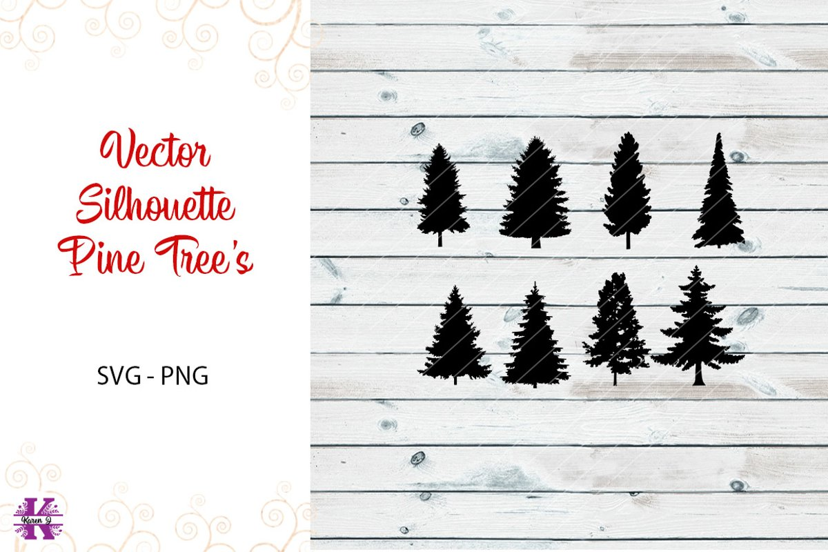 Silhouette Pine Tree's SVG PNG example image 1
