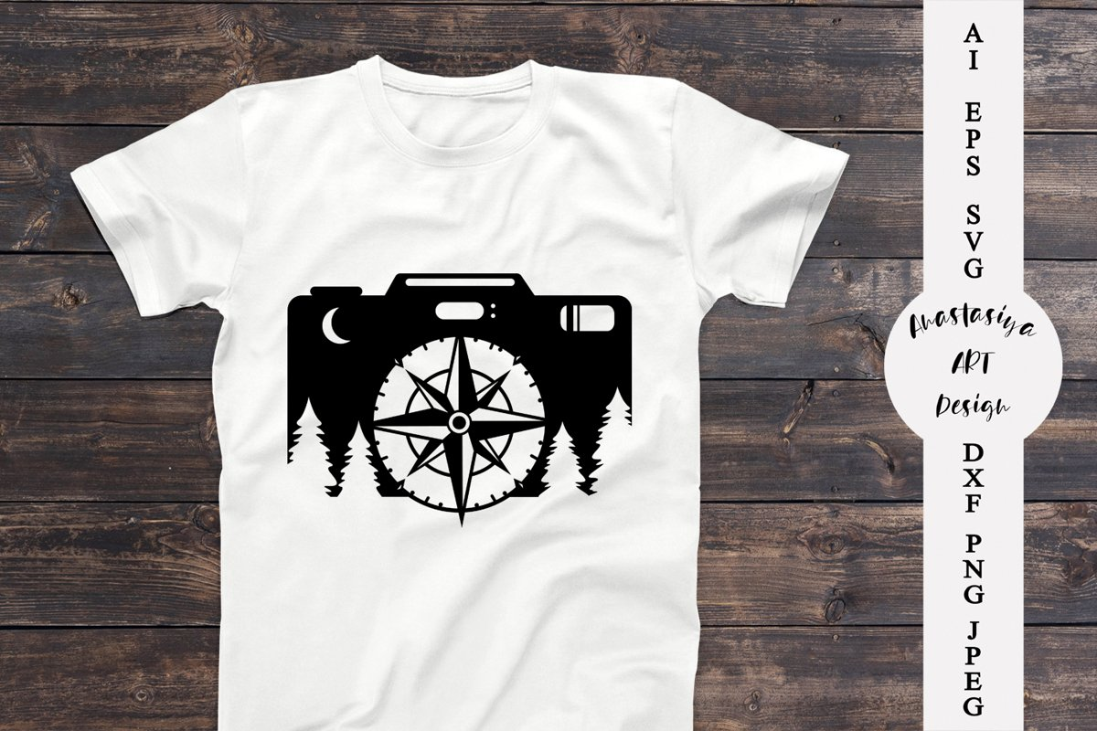 Camera and compass svg, Camping shirt svg, Travel dxf example image 1