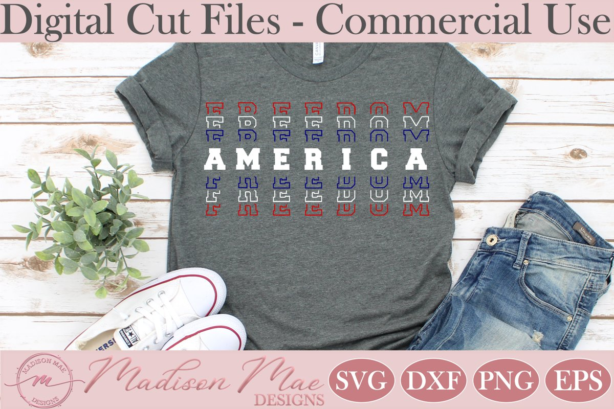 Fourth Of July SVG, America Freedom Stacked Words example image 1