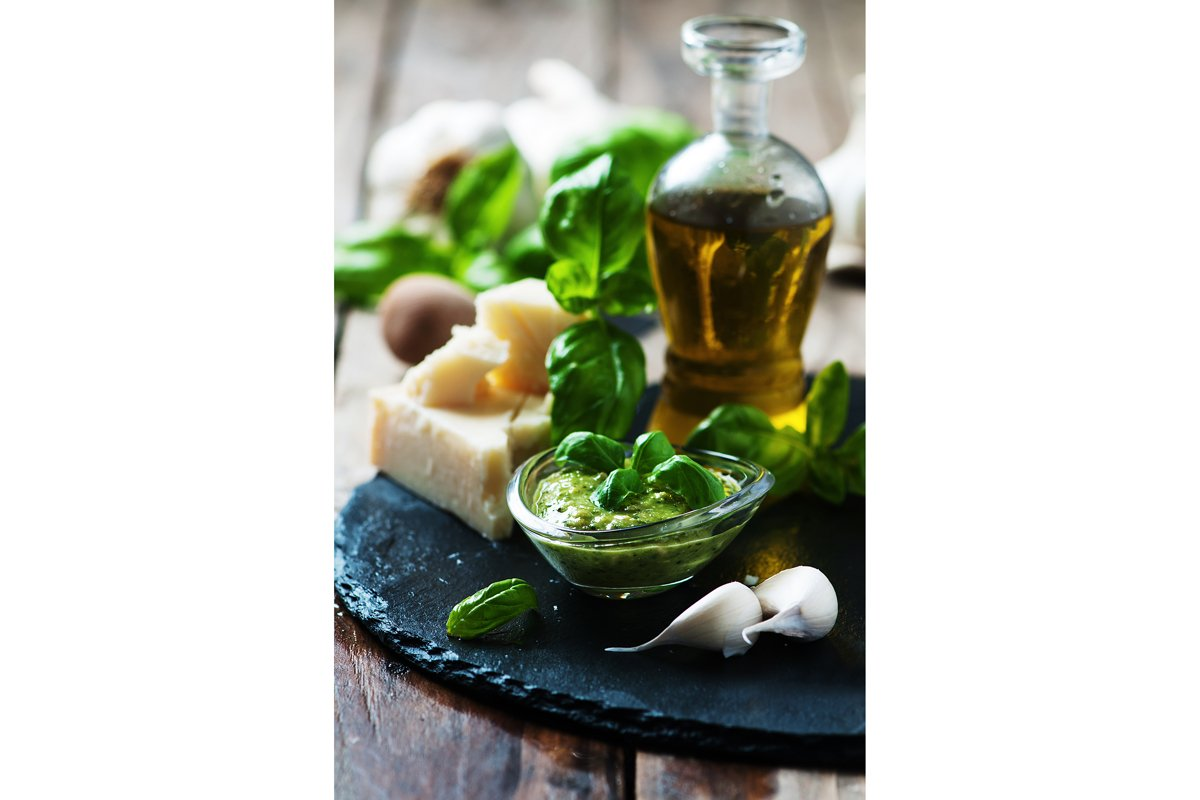talian traditional pesto with basil, cheese and oil example image 1