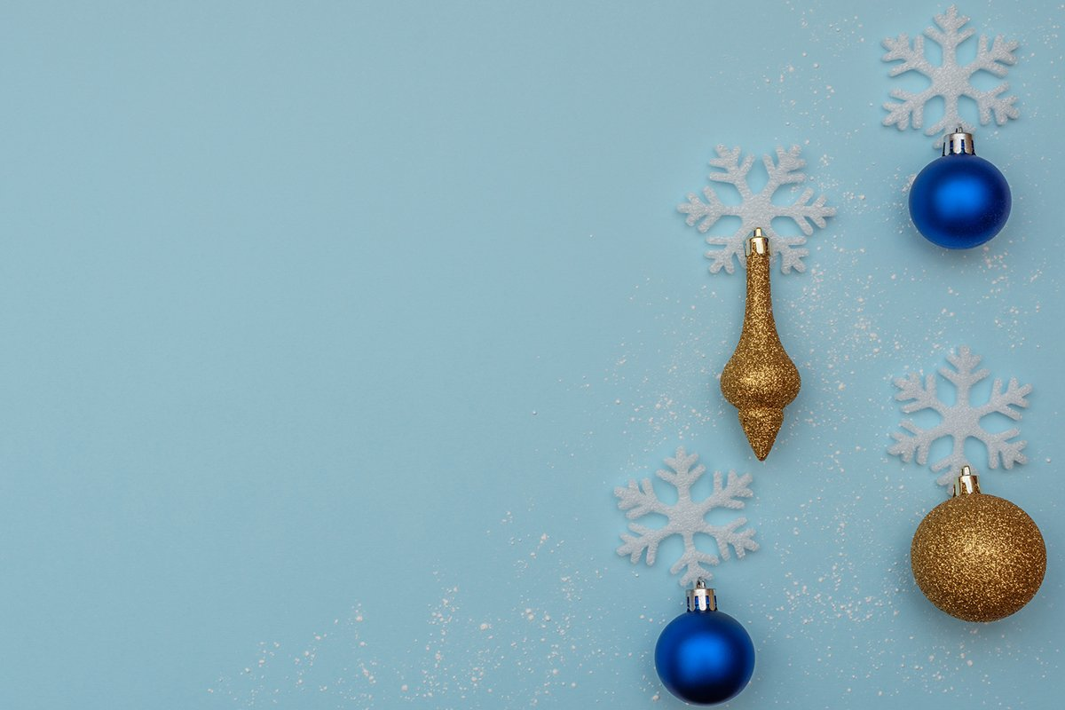 White snowflakes and Christmas decorations. example image 1