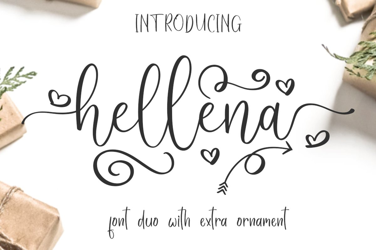 Hellena \\ Font Duo with additional Ornament example image 1