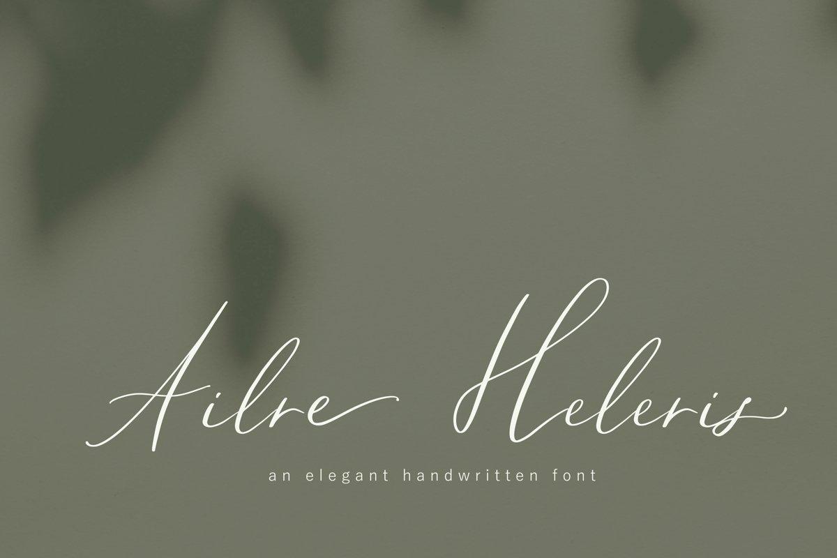 Ailre Heleris, an elegant script font example image 1