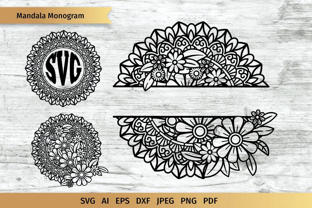 Split Mandala  Floral Mandala  Circle Monogram  Cut File example image 1