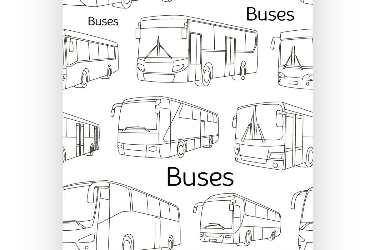 Bus icons set pattern example image 1