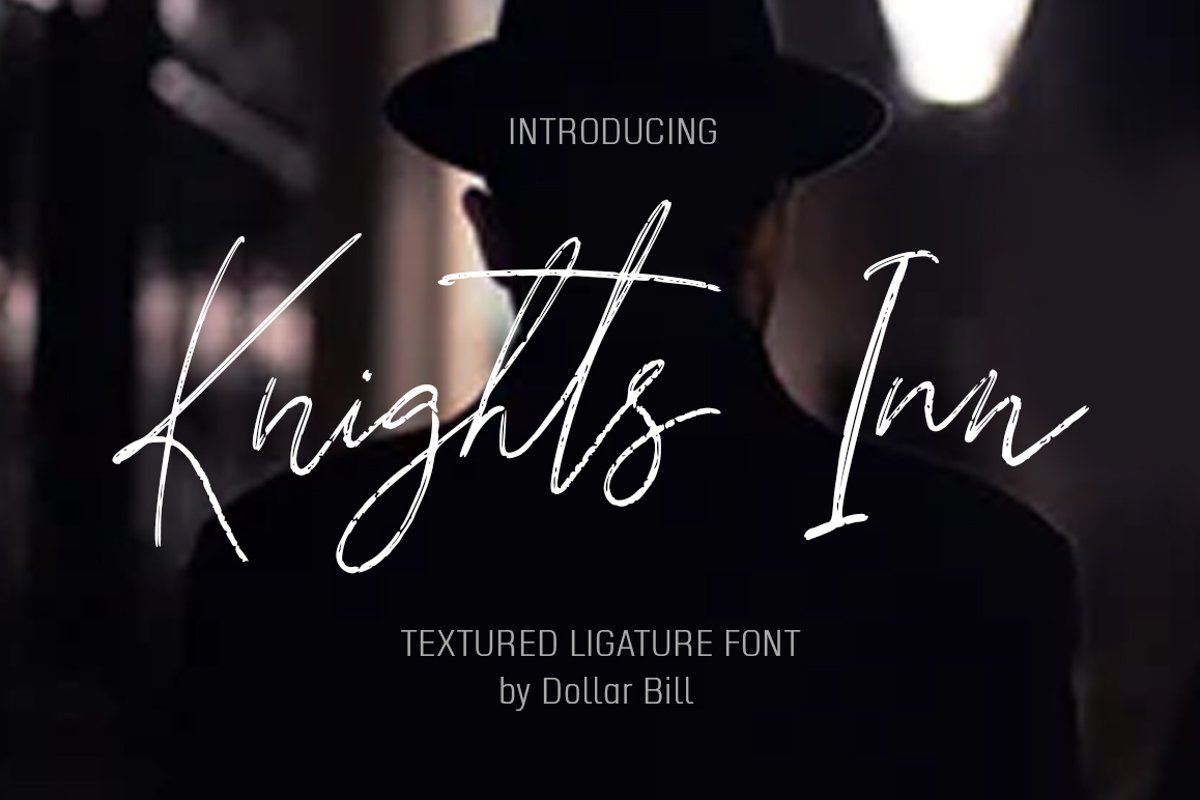 Knights Inn. Textured signature brush font. example image 1