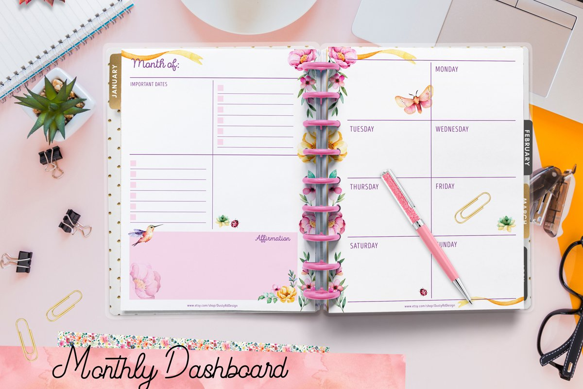 PLANNER printables- hummingbird collection - 17 pdf example image 1