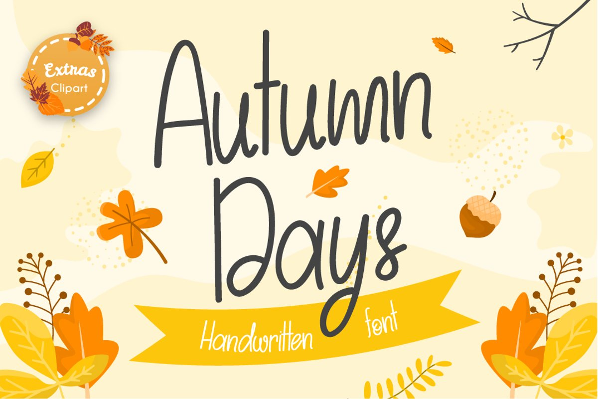 Autumn Days | Fall Themed Handwritten Font example image 1