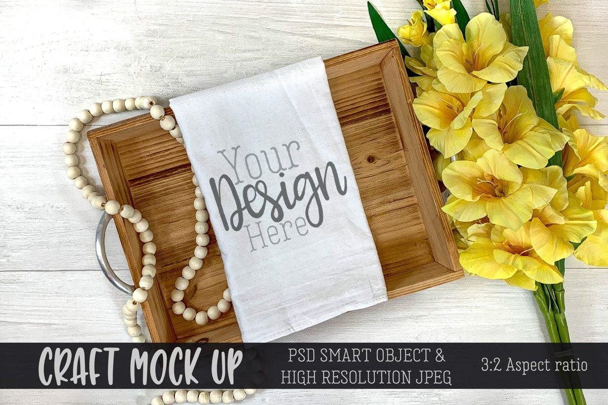 Spring flour sack towel Craft Mockup   PSD & JPEG example image 1