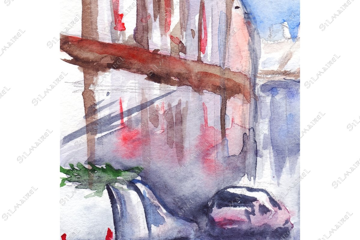 Watercolor rainy street car road outdoor landscape example image 1