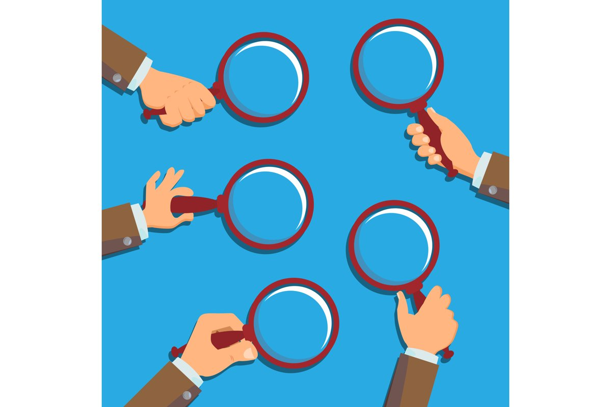 Hand Holding Magnifying Glass Vector. Information Research. example image 1