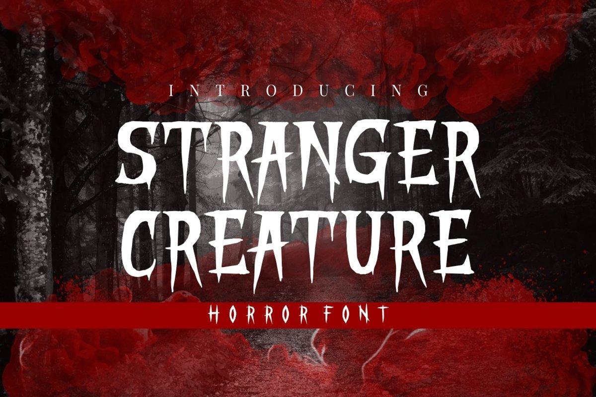 STRANGER CREATURE - HORROR FONT example image 1